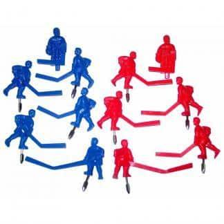 12 Carrom Red and Blue Stick Hockey Man Set   moneymachines.com