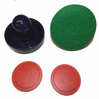2 Blue Mallets 2 Small Red Pucks | moneymachines.com