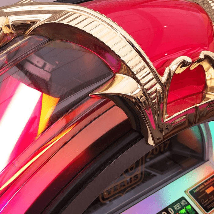 Rock-Ola 90th Anniversary Bubbler CD Jukebox Round Top Close Up | moneymachines.com