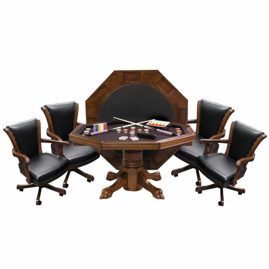 Hybrid Level Best 3-in-1 Combo Table with 4 Winslow Chairs In Warm Chestnut Finish | moneymachines.com