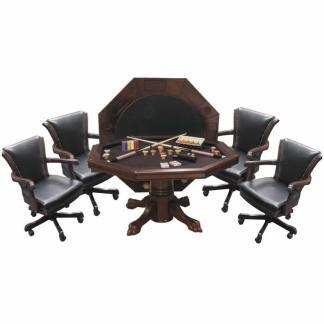 Hybrid Level Best 3-in-1 Combo Table with 4 Winslow Chairs In Mahogany Finish | moneymachines.com