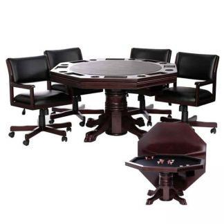 Level Best 54 Inch 3 in 1 Game Table Set With 4 Tilt-Swivel Chairs | moneymachines.com