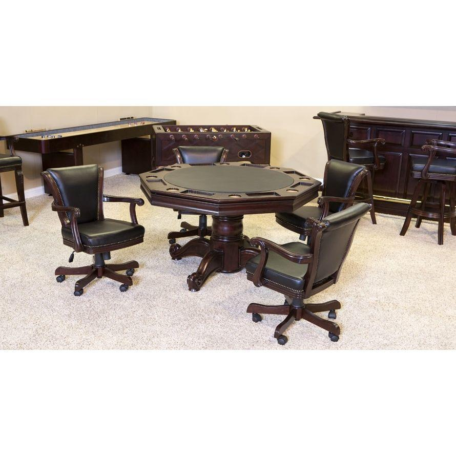 Winslow Game Table Set With 4 V-Back Chairs In Traditional Mahogany Finish | moneymachines.com