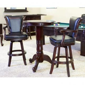 Winslow Pub Table and Backed Bar Stool Set Traditional Mahogany Finish | moneymachines.com
