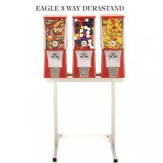 3 Eagle Cabinet Vending Machines on 3-Way Black Durastand | moneymachines.com