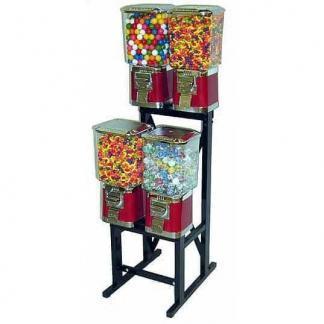 4 Pro Line Vending Machines On Black Rack Stand | moneymachines.com