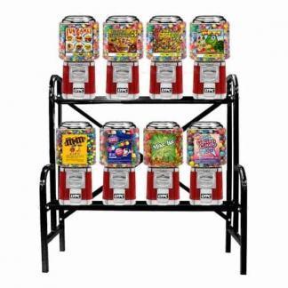 8 Unit Classic Gumball Vending Machines On Rack Stand | moneymachines.com