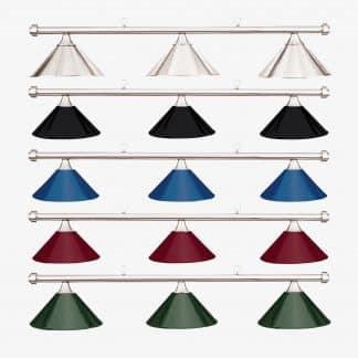 HJ Scott Brushed Chrome Bar 3-Shade Metal Billiard Table Light | moneymachines.com