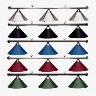 HJ Scott Gunmetal Bar 3-Shade Metal Billiard Table Light | moneymachines.com