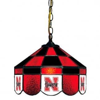 Nebraska Cornhuskers Stained Glass Swag Hanging Lamp | moneymachines.com