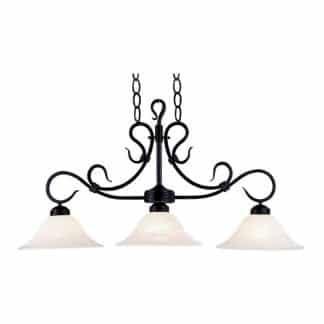 Buckingham 3-Light Matte Black/White Glass LED Pool Table Light 247-BK-LED | moneymachines.com