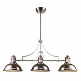Chadwick LED 47 inch Polished Nickel Billiard/Island Ceiling Light ELK 66115-3-LED | moneymachines.com