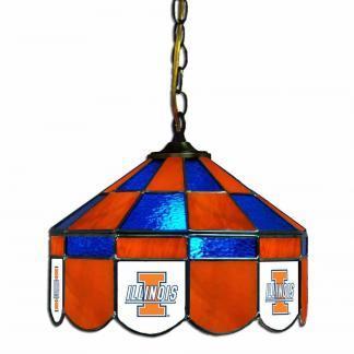 Illinois Fighting Illini Stained Glass Swag Hanging Lamp | moneymachines.com