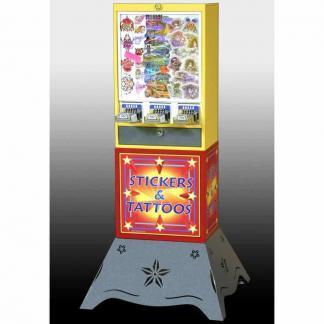 Impulse 3 Column Sticker Tattoo Vending Machine With Deluxe Base   moneymachines.com