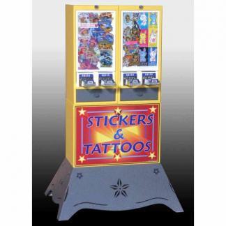 Impulse 4 Column Sticker Tattoo Vending Machine With Deluxe Base   moneymachines.com
