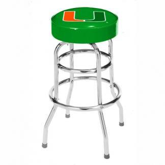 Miami Hurricanes College Logo Double Rung Bar Stool | moneymachines.com