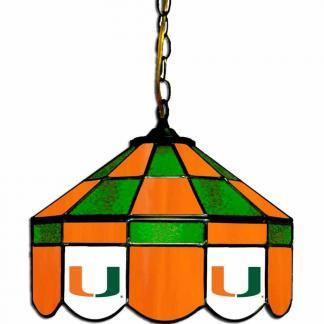 Miami Hurricanes Stained Glass Swag Hanging Lamp | moneymachines.com