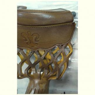 Oak Leather Shield Pool Table Pocket Set | moneymachines.com