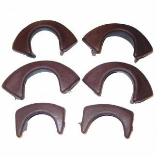 Pool Table Brown Vinyl #6 Iron Covers With Liners - Set of 6 | moneymachines.com