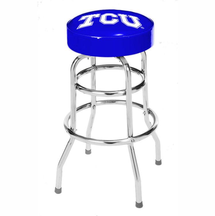 TCU Horned Frogs College Logo Double Rung Bar Stool | moneymachines.com