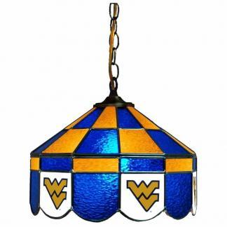 West Virginia Mountaineers Stained Glass Swag Hanging Lamp | moneymachines.com