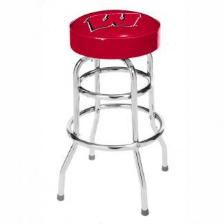 Wisconsin Badgers College Logo Double Rung Bar Stool | moneymachines.com