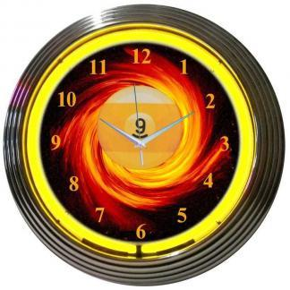 9 Ball Fire Neon Wall Clock | moneymachines.com