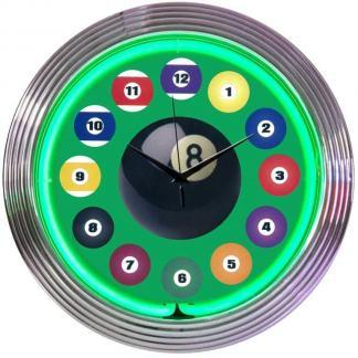 Billiard Pool Room Neon Wall Clocks | moneymachines.com