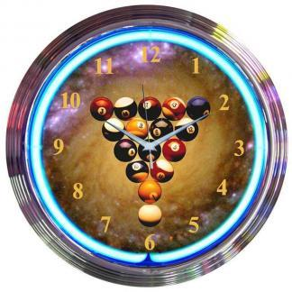 Billiards Space Balls Neon Wall Clock | moneymachines.com