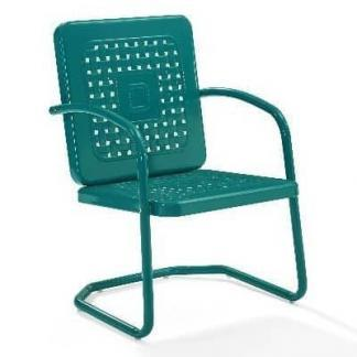 Crosley Battes Outdoor Chairs - Turquoise - Set of 2 | moneymachines.com