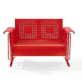 Crosley Battes Outdoor Loveseat Glider - Red | moneymachines.com