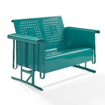 Crosley Battes Outdoor Loveseat Glider - Turquoise | moneymachines.com