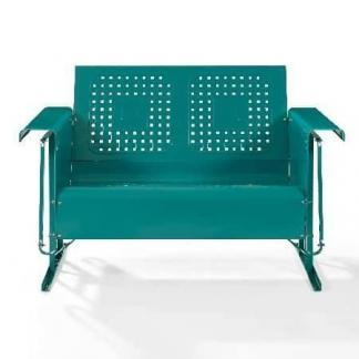 Crosley Battes Outdoor Loveseat Glider - Turquoise | moneymachines.com