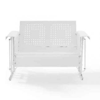 Crosley Battes Outdoor Loveseat Glider - White | moneymachines.com