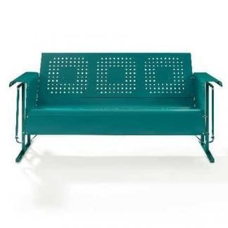 Crosley Battes Outdoor Sofa Glider - Turquoise | moneymachines.com