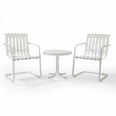 Crosley Gracie 3 Piece Outdoor Furniture Set - 2 Chairs and Side Table - Alabaster White | moneymachines.com