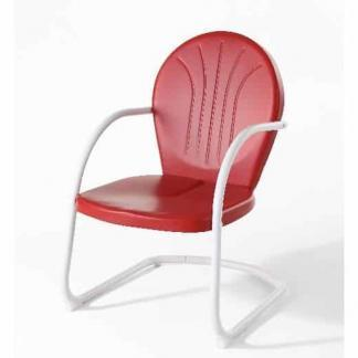 Crosley Griffith Metal Outdoor Chair - Red Finish | moneymachines.com
