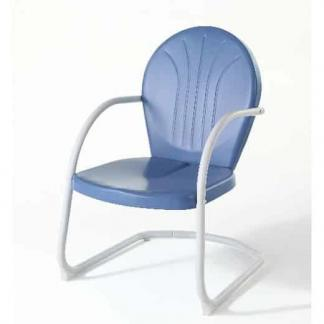 Crosley Griffith Metal Outdoor Chair - Sky Blue Finish | moneymachines.com