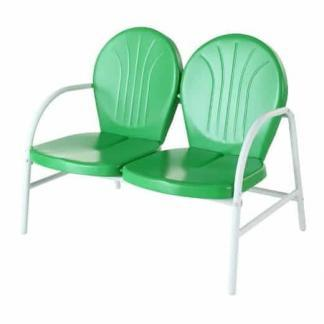 Crosley Griffith Metal Outdoor Loveseat - Grasshopper Green Finish | moneymachines.com