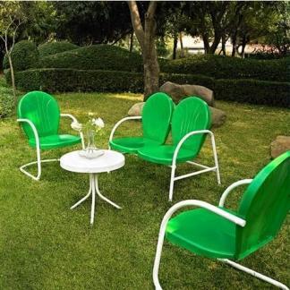 Griffith 4 Piece Metal Outdoor Furniture Set - Grasshopper Green Finish | moneymachines.com