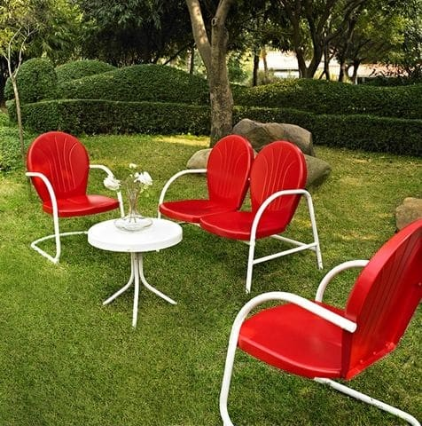 Griffith 4 Piece Metal Outdoor Furniture Set - Red Finish | moneymachines.com