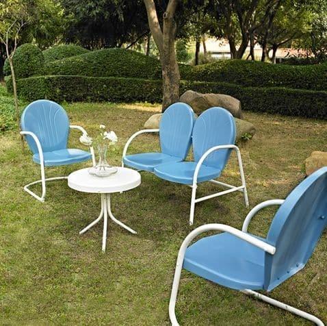 Griffith 4 Piece Metal Outdoor Furniture Set - Sky Blue Finish | moneymachines.com