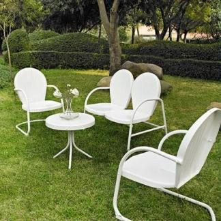 Griffith 4 Piece Metal Outdoor Furniture Set - White Finish | moneymachines.com