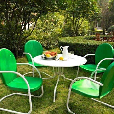 Griffith 5 Piece Metal Outdoor Dining Set - Grasshopper Green Finish | moneymachines.com