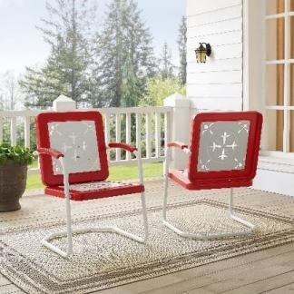 Griffith Azalea Metal Outdoor Chairs - (Pack of Two) - Red Finish | moneymachines.com