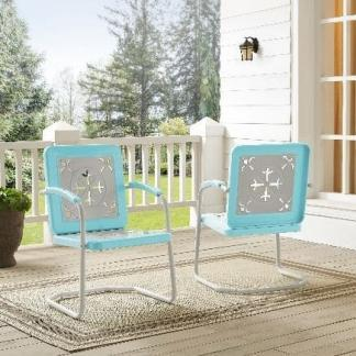 Griffith Azalea Metal Outdoor Chairs - (Pack of Two) - Turquoise Finish | moneymachines.com