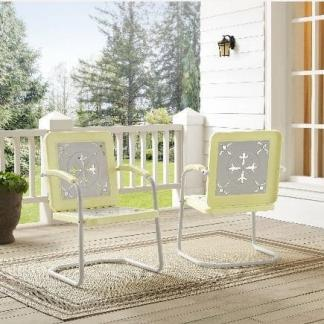 Griffith Azalea Metal Outdoor Chairs - (Pack of Two) - Yellow Finish | moneymachines.com