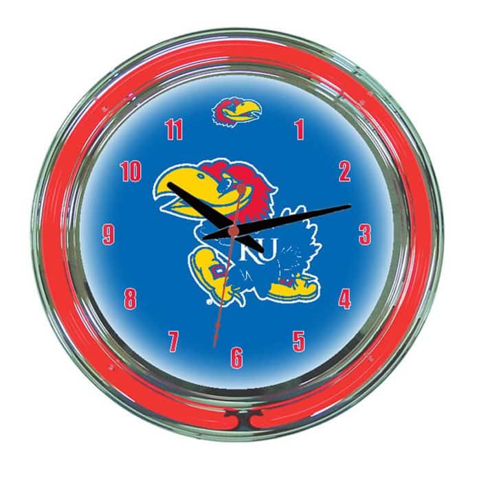 Kansas Jayhawks Neon Wall Clock | Moneymachines.com