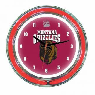 Montana Grizzlies Neon Wall Clock   Moneymachines.com
