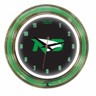 North Dakota Fighting Hawks Neon Wall Clock | Moneymachines.com